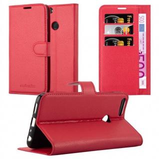 Cadorabo Hülle für Huawei P SMART 2018 / Enjoy 7S in KARMIN ROT Handyhülle mit Magnetverschluss, Standfunktion und Kartenfach Case Cover Schutzhülle Etui Tasche Book Klapp Style