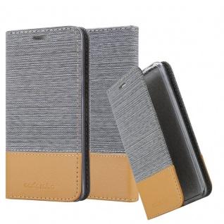Cadorabo Hülle für HTC Desire 12 in HELL GRAU BRAUN - Handyhülle mit Magnetverschluss, Standfunktion und Kartenfach - Case Cover Schutzhülle Etui Tasche Book Klapp Style
