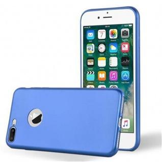 Cadorabo Hülle für Apple iPhone 8 PLUS / iPhone 7 PLUS / iPhone 7S PLUS - Hülle in METALLIC BLAU ? Handyhülle aus TPU Silikon im Matt Metallic Design - Ultra Slim Soft Backcover Case Bumper