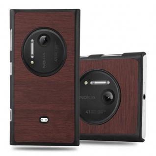 Cadorabo Hülle für Nokia Lumia 1020 in WOODY KAFFEE - Hardcase Handyhülle aus Plastik gegen Kratzer und Stöße - Schutzhülle Bumper Ultra Slim Back Case Hard Cover