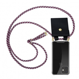 Cadorabo Handy Kette für Apple iPhone 11 (XI) in ROT WEISS - Silikon Necklace Umhänge Hülle mit Gold Ringen, Kordel Band Schnur und abnehmbarem Etui - Schutzhülle