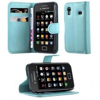 Cadorabo Hülle für Samsung Galaxy ACE 1 in PASTEL BLAU - Handyhülle mit Magnetverschluss, Standfunktion und Kartenfach - Case Cover Schutzhülle Etui Tasche Book Klapp Style