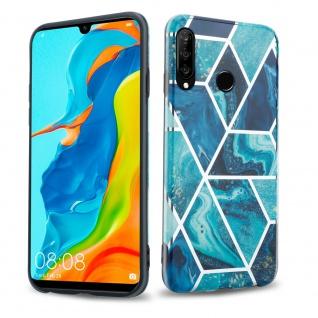 Cadorabo Hülle für Huawei P30 LITE Hülle in Blaue Welle Marmor No.13 Handyhülle aus TPU Silikon mit Muster Mosaik Silikonhülle Schutzhülle Ultra Slim Back Cover Case Bumper