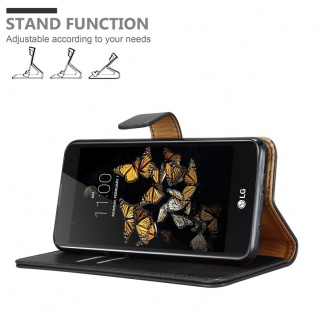 Cadorabo Hülle für LG K8 2016 in GRAPHIT SCHWARZ ? Handyhülle mit Magnetverschluss, Standfunktion und Kartenfach ? Case Cover Schutzhülle Etui Tasche Book Klapp Style - Vorschau 4
