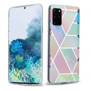 Cadorabo Hülle für Samsung Galaxy S20 PLUS Hülle in Regenbogen Marmor No.11 Handyhülle aus TPU Silikon mit Muster Mosaik Silikonhülle Schutzhülle Ultra Slim Back Cover Case Bumper