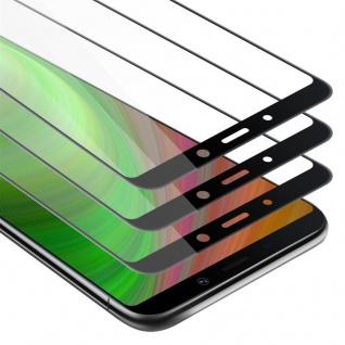 Cadorabo 3x Vollbild Panzer Folie für Samsung Galaxy A9 2018 - Schutzfolie in TRANSPARENT mit SCHWARZ - 3er Pack Gehärtetes (Tempered) Display-Schutzglas in 9H Härte mit 3D Touch