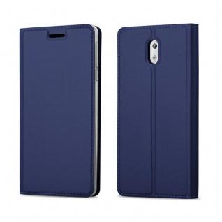 Cadorabo Hülle für Nokia 3 2017 in CLASSY DUNKEL BLAU - Handyhülle mit Magnetverschluss, Standfunktion und Kartenfach - Case Cover Schutzhülle Etui Tasche Book Klapp Style