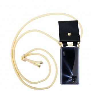 Cadorabo Handy Kette für Oppo A92 in CREME BEIGE Silikon Necklace Umhänge Hülle mit Gold Ringen, Kordel Band Schnur und abnehmbarem Etui Schutzhülle