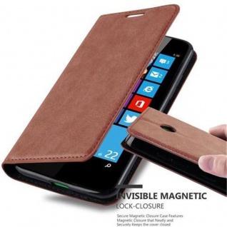Cadorabo Hülle für Nokia Lumia 630 in CAPPUCCINO BRAUN - Handyhülle mit Magnetverschluss, Standfunktion und Kartenfach - Case Cover Schutzhülle Etui Tasche Book Klapp Style