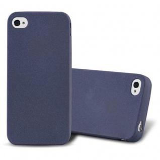 Cadorabo Hülle für Apple iPhone 4 / iPhone 4S in FROST DUNKEL BLAU - Handyhülle aus flexiblem TPU Silikon - Silikonhülle Schutzhülle Ultra Slim Soft Back Cover Case Bumper