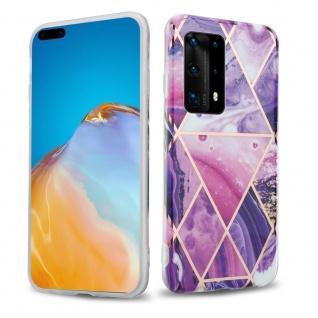 Cadorabo Hülle für Huawei P40 Hülle in Lila Welle Marmor No.14 Handyhülle aus TPU Silikon mit Muster Mosaik Silikonhülle Schutzhülle Ultra Slim Back Cover Case Bumper