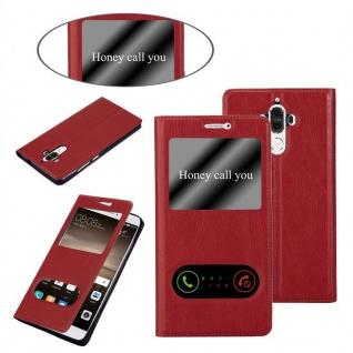Cadorabo Hülle für Huawei MATE 9 in SAFRAN ROT ? Handyhülle mit Magnetverschluss, Standfunktion und 2 Sichtfenstern ? Case Cover Schutzhülle Etui Tasche Book Klapp Style - Vorschau 3