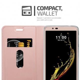 Cadorabo Hülle für LG K10 2016 in CLASSY ROSÉ GOLD - Handyhülle mit Magnetverschluss, Standfunktion und Kartenfach - Case Cover Schutzhülle Etui Tasche Book Klapp Style - Vorschau 3