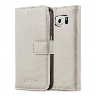 Cadorabo Hülle für Samsung Galaxy S6 in CAPPUCCINO BRAUN Handyhülle mit Magnetverschluss, Standfunktion und Kartenfach Case Cover Schutzhülle Etui Tasche Book Klapp Style