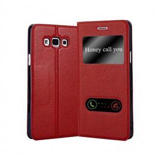Cadorabo Hülle für Samsung Galaxy A7 2015 in SAFRAN ROT - Handyhülle mit Magnetverschluss, Standfunktion und 2 Sichtfenstern - Case Cover Schutzhülle Etui Tasche Book Klapp Style