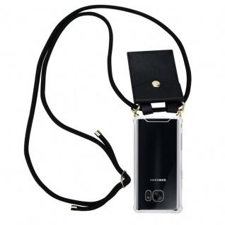 Cadorabo Handy Kette für Samsung Galaxy S7 in SCHWARZ ? Silikon Necklace Umhänge Hülle mit Gold Ringen, Kordel Band Schnur und abnehmbarem Etui ? Schutzhülle