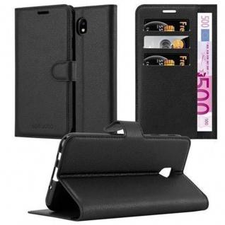 Cadorabo Hülle für Samsung Galaxy J3 2017 in PHANTOM SCHWARZ - Handyhülle mit Magnetverschluss, Standfunktion und Kartenfach - Case Cover Schutzhülle Etui Tasche Book Klapp Style