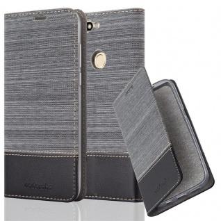 Cadorabo Hülle für Honor 7C in GRAU SCHWARZ - Handyhülle mit Magnetverschluss, Standfunktion und Kartenfach - Case Cover Schutzhülle Etui Tasche Book Klapp Style