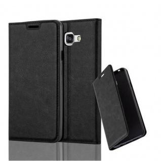 Cadorabo Hülle für Samsung Galaxy A7 2016 in NACHT SCHWARZ - Handyhülle mit Magnetverschluss, Standfunktion und Kartenfach - Case Cover Schutzhülle Etui Tasche Book Klapp Style