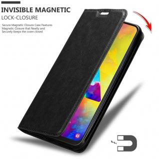 Cadorabo Hülle für Samsung Galaxy M20 in NACHT SCHWARZ - Handyhülle mit Magnetverschluss, Standfunktion und Kartenfach - Case Cover Schutzhülle Etui Tasche Book Klapp Style - Vorschau 3