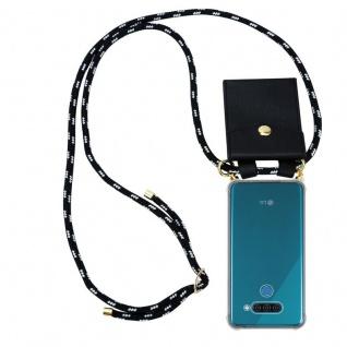 Cadorabo Handy Kette für LG Q60 in SCHWARZ SILBER Silikon Necklace Umhänge Hülle mit Gold Ringen, Kordel Band Schnur und abnehmbarem Etui Schutzhülle