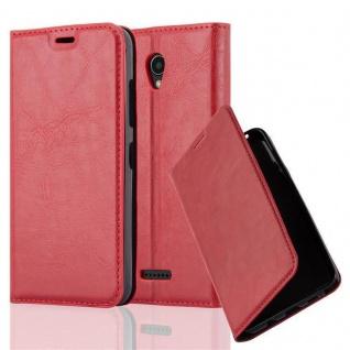 Cadorabo Hülle für Lenovo B in APFEL ROT - Handyhülle mit Magnetverschluss, Standfunktion und Kartenfach - Case Cover Schutzhülle Etui Tasche Book Klapp Style