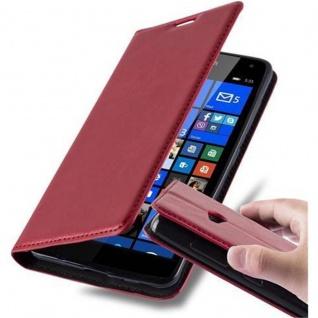 Cadorabo Hülle für Nokia Lumia 535 in APFEL ROT - Handyhülle mit Magnetverschluss, Standfunktion und Kartenfach - Case Cover Schutzhülle Etui Tasche Book Klapp Style