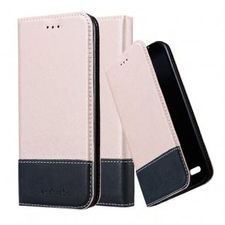 Cadorabo Hülle für LG K10 2017 in ROSÉ GOLD SCHWARZ ? Handyhülle mit Magnetverschluss, Standfunktion und Kartenfach ? Case Cover Schutzhülle Etui Tasche Book Klapp Style