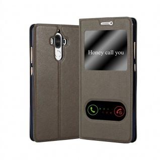 Cadorabo Hülle für Huawei MATE 9 in STEIN BRAUN - Handyhülle mit Magnetverschluss, Standfunktion und 2 Sichtfenstern - Case Cover Schutzhülle Etui Tasche Book Klapp Style