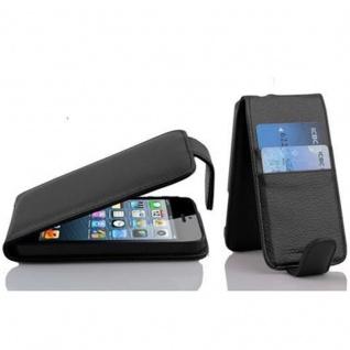 Cadorabo Hülle für Apple iPhone 5 / iPhone 5S / iPhone SE - Hülle in JET SCHWARZ - Handyhülle mit Kartenfach im Flip Design - Case Cover Schutzhülle Etui Tasche