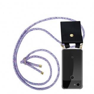 Cadorabo Handy Kette für Google Pixel 3a in UNICORN - Silikon Necklace Umhänge Hülle mit Gold Ringen, Kordel Band Schnur und abnehmbarem Etui ? Schutzhülle