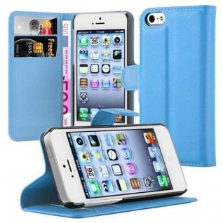 Cadorabo Hülle für Apple iPhone 5 / iPhone 5S / iPhone SE in PASTEL BLAU - Handyhülle mit Magnetverschluss, Standfunktion und Kartenfach - Case Cover Schutzhülle Etui Tasche Book Klapp Style