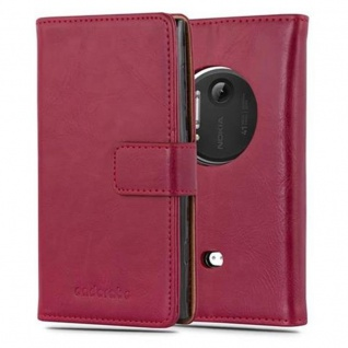 Cadorabo Hülle für Nokia Lumia 1020 in WEIN ROT - Handyhülle mit Magnetverschluss, Standfunktion und Kartenfach - Case Cover Schutzhülle Etui Tasche Book Klapp Style