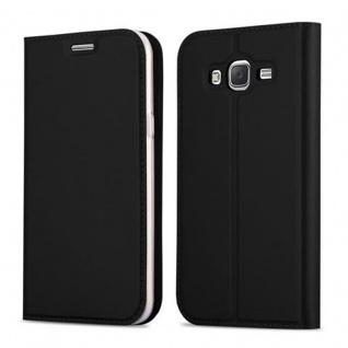 Cadorabo Hülle für Samsung Galaxy J5 2015 in CLASSY SCHWARZ - Handyhülle mit Magnetverschluss, Standfunktion und Kartenfach - Case Cover Schutzhülle Etui Tasche Book Klapp Style