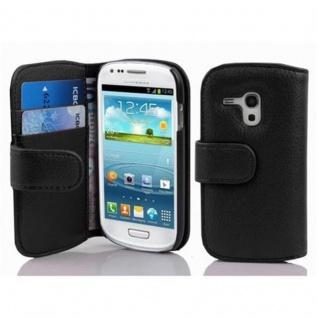 Cadorabo Hülle für Samsung Galaxy S3 MINI - Hülle in OXID SCHWARZ ? Handyhülle mit Kartenfach aus struktriertem Kunstleder - Case Cover Schutzhülle Etui Tasche Book Klapp Style