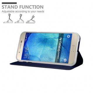 Cadorabo Hülle für Samsung Galaxy A8 2015 in CLASSY DUNKEL BLAU - Handyhülle mit Magnetverschluss, Standfunktion und Kartenfach - Case Cover Schutzhülle Etui Tasche Book Klapp Style - Vorschau 4