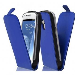 Cadorabo Hülle für Samsung Galaxy S3 MINI - Hülle in BRILLIANT BLAU ? Handyhülle aus glattem Kunstleder im Flip Design - Case Cover Schutzhülle Etui Tasche