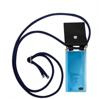 Cadorabo Handy Kette für Oppo A12 in TIEF BLAU Silikon Necklace Umhänge Hülle mit Silber Ringen, Kordel Band Schnur und abnehmbarem Etui Schutzhülle