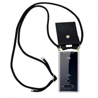 Cadorabo Handy Kette für LG V40 in SCHWARZ ? Silikon Necklace Umhänge Hülle mit Gold Ringen, Kordel Band Schnur und abnehmbarem Etui ? Schutzhülle