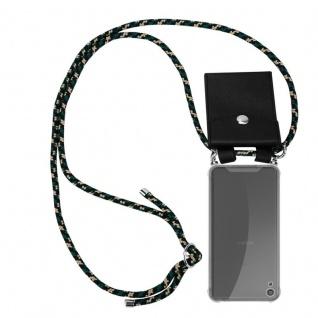 Cadorabo Handy Kette für Sony Xperia XA in CAMOUFLAGE Silikon Necklace Umhänge Hülle mit Silber Ringen, Kordel Band Schnur und abnehmbarem Etui Schutzhülle