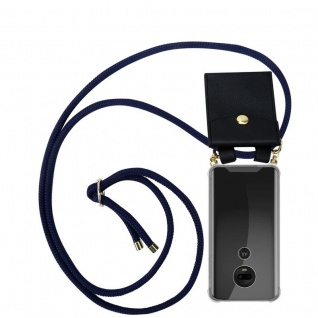 Cadorabo Handy Kette für Motorola MOTO G7 / G7 PLUS in TIEF BLAU - Silikon Necklace Umhänge Hülle mit Gold Ringen, Kordel Band Schnur und abnehmbarem Etui ? Schutzhülle