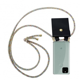 Cadorabo Handy Kette für Google Pixel 5 in RAINBOW Silikon Necklace Umhänge Hülle mit Gold Ringen, Kordel Band Schnur und abnehmbarem Etui Schutzhülle