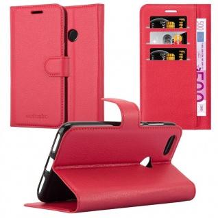 Cadorabo Hülle für Huawei Y6 PRO 2017 in KARMIN ROT - Handyhülle mit Magnetverschluss, Standfunktion und Kartenfach - Case Cover Schutzhülle Etui Tasche Book Klapp Style