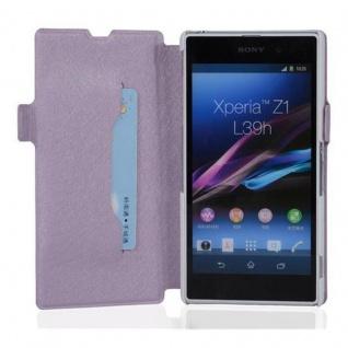 Cadorabo Hülle für Sony Xperia Z1 - Hülle in ICY FLIEDER ? Handyhülle mit Standfunktion und Kartenfach im Ultra Slim Design - Case Cover Schutzhülle Etui Tasche Book