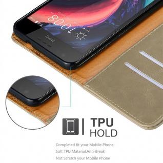 Cadorabo Hülle für HTC Desire 10 Lifestyle / Desire 825 in CAPPUCCINO BRAUN - Handyhülle mit Magnetverschluss, Standfunktion und Kartenfach - Case Cover Schutzhülle Etui Tasche Book Klapp Style - Vorschau 3