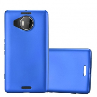 Cadorabo Hülle für Nokia Lumia 950 XL in METALLIC BLAU - Handyhülle aus flexiblem TPU Silikon - Silikonhülle Schutzhülle Ultra Slim Soft Back Cover Case Bumper