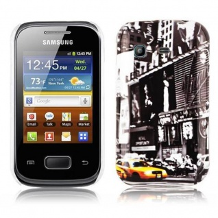 Cadorabo - Hard Cover für Samsung Galaxy POCKET - Case Cover Schutzhülle Bumper im Design: NEW YORK CAB 1
