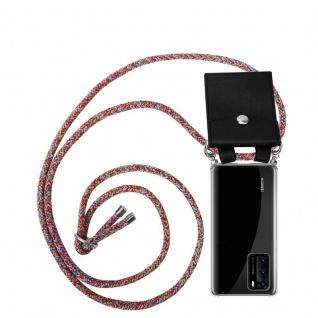Cadorabo Handy Kette für Huawei P40 in COLORFUL PARROT Silikon Necklace Umhänge Hülle mit Silber Ringen, Kordel Band Schnur und abnehmbarem Etui Schutzhülle