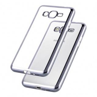 Cadorabo Hülle für Samsung Galaxy GRAND PRIME - Hülle in TRANSPARENT mit CHROM SCHWARZ ? Handyhülle aus TPU Silikon im Chrom Design - Silikonhülle Schutzhülle Ultra Slim Soft Back Cover Case Bumper - Vorschau 3