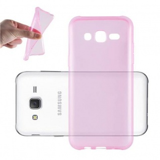 Cadorabo Hülle für Samsung Galaxy J3 2015 in TRANSPARENT PINK - Handyhülle aus flexiblem TPU Silikon - Silikonhülle Schutzhülle Ultra Slim Soft Back Cover Case Bumper